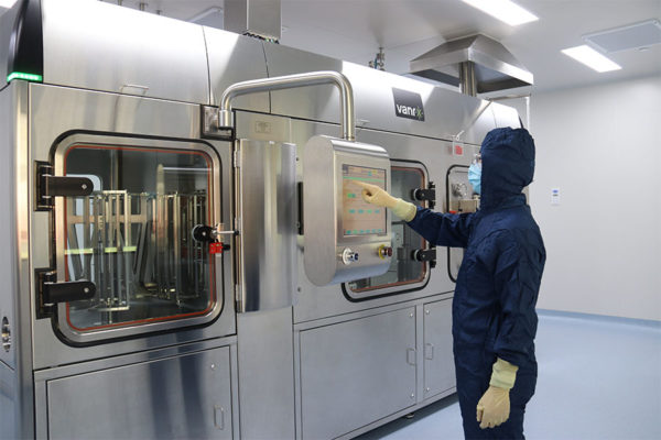 Vanrx SA25 Aseptic Filling Workcell installed in a contract manufacturing cleanroom.