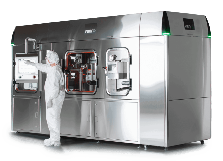 Vanrx SA25 Aseptic Filling Workcell for filling pharmaceutical vials, syringes, and cartridges.