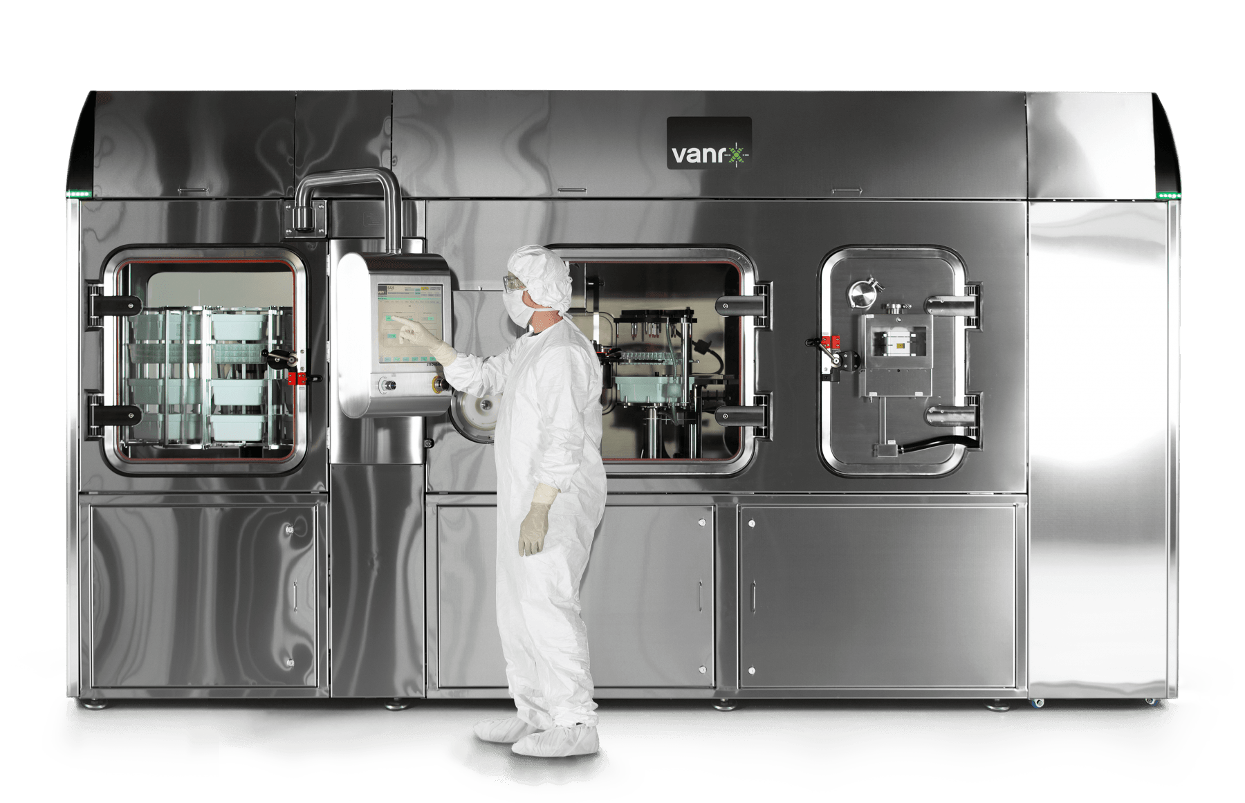 Closed robotic workcells are gloveless isolator systems used for aseptic filling of sterile injectable drug product into vials, syringes and cartridges.